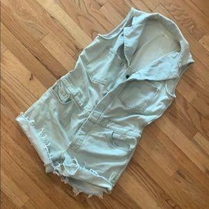 6397 Brand Denim cutoff jumpsuit romper